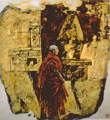 """Monk before temple   40"""" x 37""""   Gouache/ink on paper"""