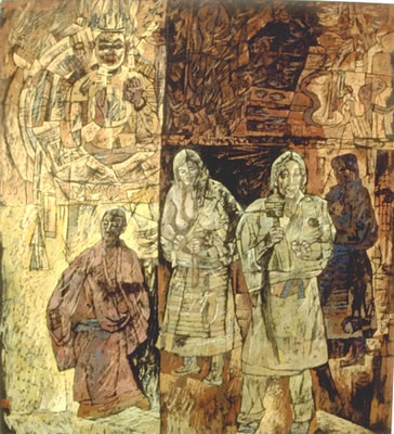 """Monk with pilgrims   40"""" x 37""""   Gouache/ink on paper"""