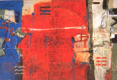 "Words in mixture in Red White and Blue | 60"" x 92"" 